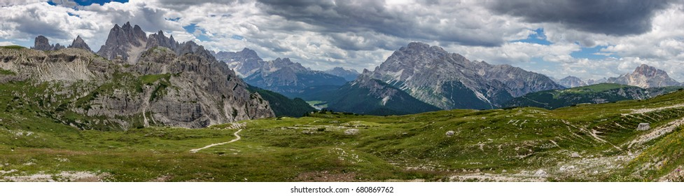 Ultra wide panorama of Dolomites skyline