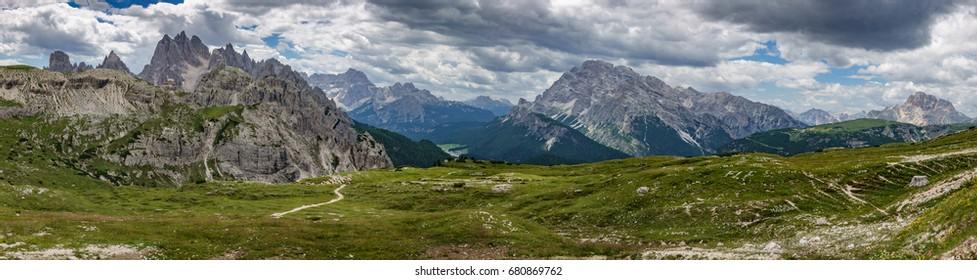 Ultra wide panorama of Dolomites skyline
