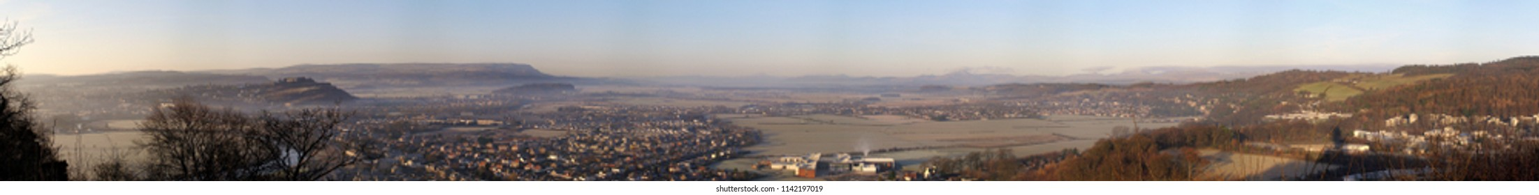 Ultra wide panorama of Stirling city in Scotland