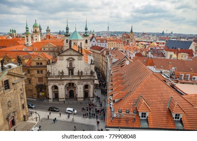 Ultra wide panoramic view of old town square with The Church of St. Francis, Klementinum