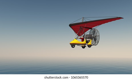 Ultralight trike over the sea Computer generated 3D illustration