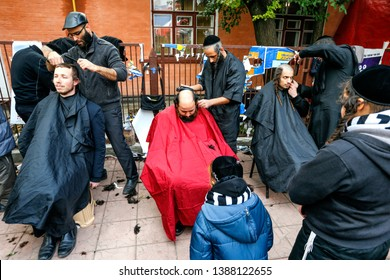 Ultra-Orthodox Jewish Hasids  pilgrims have a haircut on the eve of Rosh Hashanah holiday, the Jewish New Year, near the tomb of Rabbi Nachman of Breslov in the town of Uman, Ukraine. September 2016