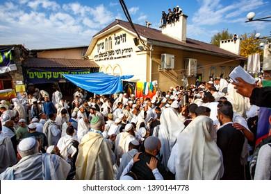 Ultra-Orthodox Jewish Hasids pilgrims pray on the street near the tomb of Rabbi Nachman of Breslov on the eve of Rosh Hashanah holiday, the Jewish New Year, in Uman, Ukraine. September 2016