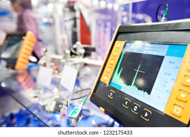 Ultrasonic flaw detector on stand of exhibition