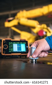 Ultrasonic test to detect imperfection or defect of steel plate in factory, NDT Inspection.