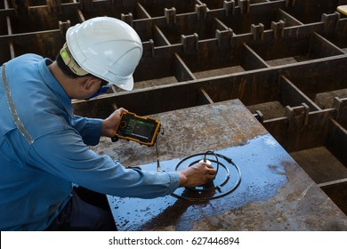 Ultrasonic test to detect imperfection or defect of steel plate in Workshop, NDT Inspection.