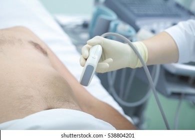 Ultrasound of the abdomen in the emergency room.