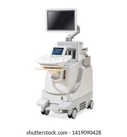 Ultrasound Machine Isolated on White. Pediatric Adult Cardiology Hospital Equipment. Cardiovascular Imaging Ultrasound System. Ultrasonography Machine. Diagnostic Sonography. Medical Diagnostic Device
