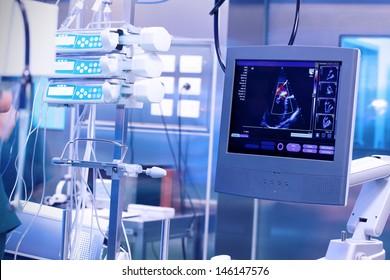 Ultrasound machine in a modern operating laboratory.
