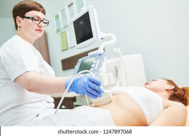 ultrasound scan. Examining stomach of female patient