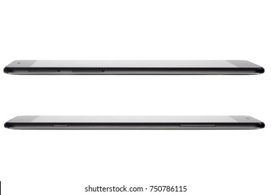 The ultrathin smartphone with strict design. mobile phone side view isolated on a white background.
