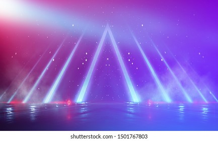 Ultraviolet abstract light. Light tunnel and laser lines. Violet and pink gradient. Modern background, neon light. Empty stage, spotlights, neon. Abstract light.