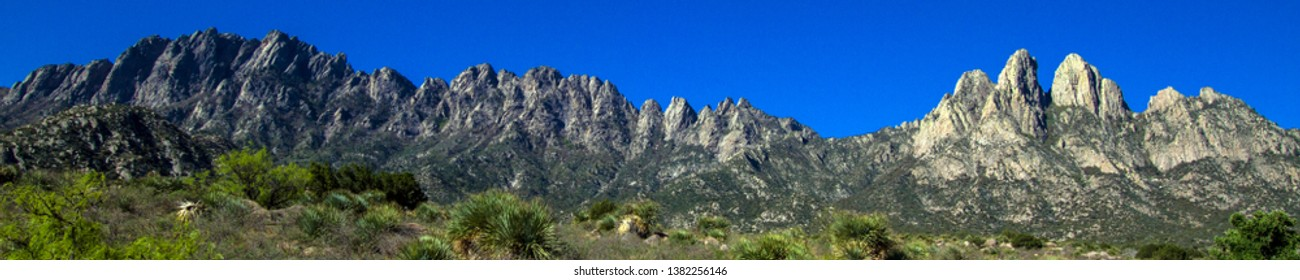 Ultra-wide panorama of Organ Mountains-Desert Peaks National Monument in New Mexico