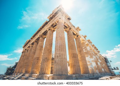 Ultrawide shot of ruins of Parthenon temple of goddess Athena in Acropolis, Athens, Greece