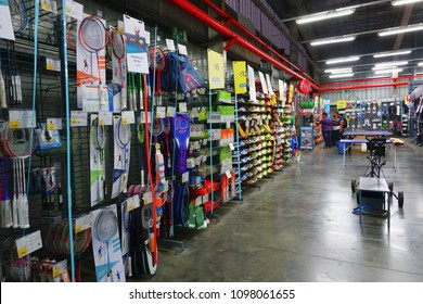 ULUBERIA, HOWRAH, WEST BENGAL / INDIA - 18TH MARCH 2018 : Badminton rackets are on display at Dechathlon S.A. - world's largest sporting goods retailer. Editorial stock image.