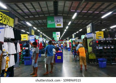 ULUBERIA, HOWRAH, WEST BENGAL / INDIA - 18TH MARCH 2018 : Sports clothes are on display at Dechathlon S.A. - world's largest sporting goods retailer. Editorial stock image.