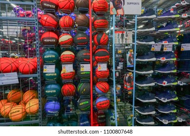 ULUBERIA, HOWRAH, WEST BENGAL / INDIA - 18TH MARCH 2018 : Colorful balls are on display at Dechathlon S.A. store , world's largest sporting goods retailer. Editorial stock image.