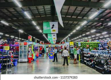 ULUBERIA, HOWRAH, WEST BENGAL / INDIA - 18TH MARCH 2018 : Various sports goods are on display for sale at Dechathlon S.A. - world's largest sporting goods retailer. Editorial stock image.