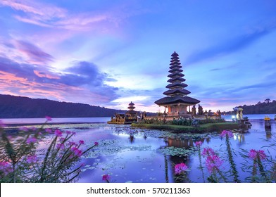 Ulun Danu Beratan Temple is a famous picturesque landmark  located on the western side of the Beratan Lake , Bali ,Indonesia