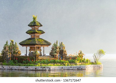 Ulun Danu Beratan temple smallest shrine at sunrise in Bali, Indonesia