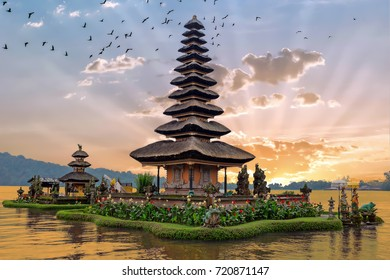 Ulun Danu temple Beratan Lake in Bali Indonesia at sunset