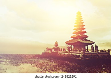 Ulun Danu temple at sunset, Bali, Indonesia