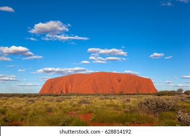 ULURU, AUSTRALIA - CIRCA AUGUST 2016: Uluru in late afternoon light, Uluru-Kata Tjuta National Park, Northern Territory, Australia