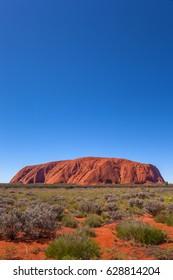 ULURU, AUSTRALIA - CIRCA AUGUST 2016: Uluru on a clear winter morning, Uluru-Kata Tjuta National Park, Northern Territory, Australia