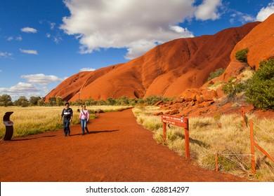 ULURU, AUSTRALIA - CIRCA AUGUST 2016: The beginning of the Mala Walk, Uluru, Uluru-Kata Tjuta National Park, Northern Territory, Australia