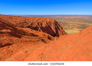 Uluru, Northern Territory, Australia - Aug 23, 2019: aerial view from the top of Uluru-Kata Tjuta National Park. Climbing to Uluru summit. The October, 26, 2019 the climb will be closed.