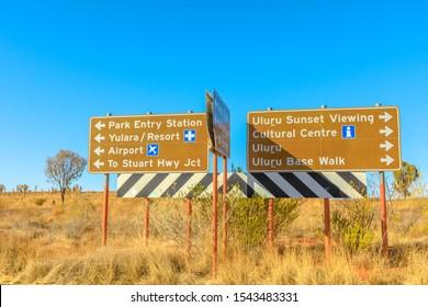 Uluru, Northern Territory, Australia - Aug 25, 2019:Uluru-kata Tjuta National Park direction: Yulara, Ayers Rock Resort, Stuart Highway, Airport, Cultural Centre, Uluru sunset viewing, Uluru Base Walk