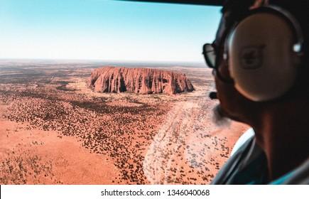 Uluru, Petermann NT 0872, Australia - 02/16/2019 : aerial shot of Uluru rock