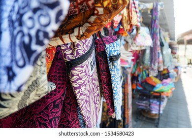Uluwatu, Bali, Indonesia - 9th September 2017: Traditional tourist bag souvenirs in a local souvenir shop in Uluwatu Temple Bali, Indonesia.