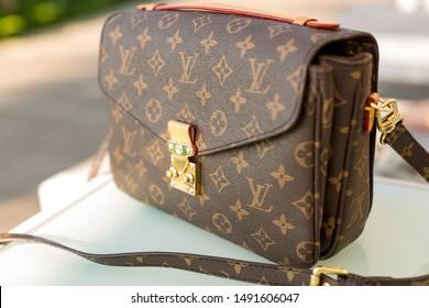 uluwatu, bali/indonesia 25 06 2019: louis vuitton handbag retro old vintage,luxury handbag, female fashion item.
