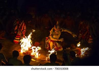 Uluwatu - JULY 17: Traditional Balinese Kecak Dance at Uluwatu Temple on Jul 06, 2017, Bali, Indonesia. Kecak (also known as Ramayana Monkey Chant) is very popular cultural show on Bali