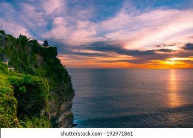 Uluwatu temple in sunset. Bali, Indonesia