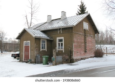 Ulvila, Finland - March 17 2021: Beautiful old wooden house in the center of the rural town.