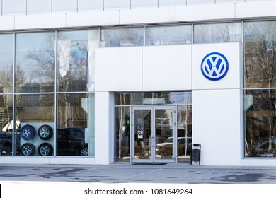 Ulyanovsk, Russia - April 29, 2018: Building of Volkswagen car selling and service center with Volkswagen sign.