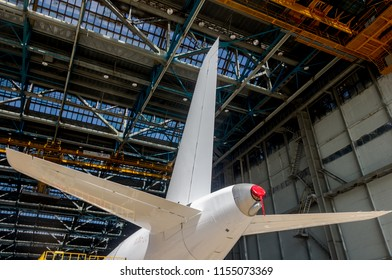 ULYANOVSK, RUSSIA - AUGUST 19, 2017: Sukhoi Civil Aircraft company fragment of Sukhoi Superjet 100 SSJ 100 twin engine passenger jet plane at exhibition