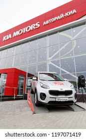Ulyanovsk, Russia - October 06, 2018: New KIA Sportage - exhibition car stands in front of the building of KIA MOTORS car selling and service center.