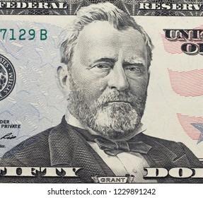 Ulysses  Grant  portrait on dollar bill  closeup