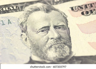 Ulysses S. Grant face on US fifty or 50 dollars bill macro, united states money closeup