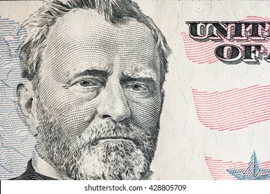 """Ulysses S. Grant"" face from US fifty or 50 dollars bill macro, united states money closeup"