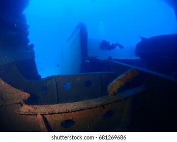 Um el Faroud Wreck - Superstructure Split - Wied iz-Zurrieq dive site, Malta