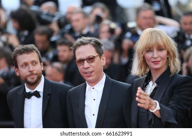 Uma Thurman, Reda Kateb attend the 'Based On A True Story' screening during the 70th annual Cannes Film Festival at Palais des Festivals on May 27, 2017 in Cannes, France.
