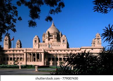 Umaid Bhawan Palace, located at Jodhpur in Rajasthan, India. Named after Maharaja Umaid Singh, this monument has 347 rooms.