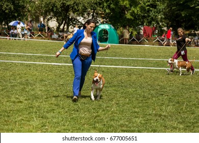 UMAN, UKRAINE -12 June2017: International Dog Show. Participants of dog competition show their pets in accordance with competitive program. Rewarding of dogs. Competition of exterior of breeds of dogs