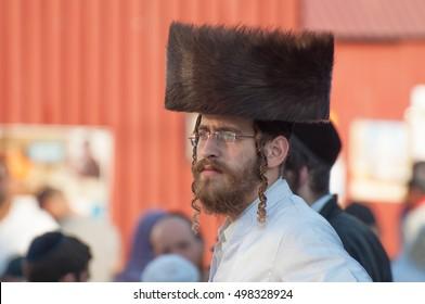 Uman, Ukraine - 2 October 2016: Jew Hasid ethnic headdress. Every year, thousands of Orthodox Bratslav Hasidic Jews from different countries gather in Uman to mark Rosh Hashanah, Jewish New Year.