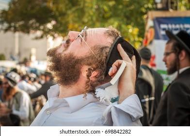 Uman, Ukraine - 2 October 2016: Rosh Hashanah, Jewish New Year 5777. It is celebrated at the grave of Rabbi Nachman. Pilgrims of Hasidim in traditional festive attire celebrate mass on the Uman.