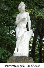 Uman, Ukraine, Sophia arboretum - Summer 2011: White ancient statue